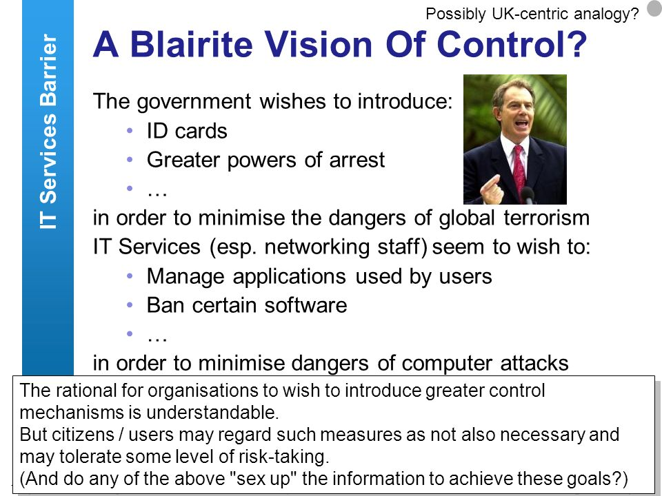A centre of expertise in digital information managementwww.ukoln.ac.uk 12 A Blairite Vision Of Control? The government wishes to introduce: ID cards G