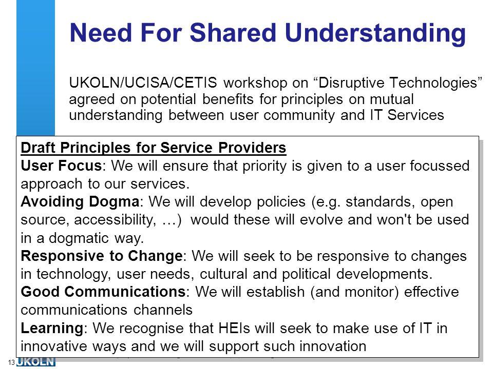 A centre of expertise in digital information managementwww.ukoln.ac.uk 13 Need For Shared Understanding UKOLN/UCISA/CETIS workshop on Disruptive Techn