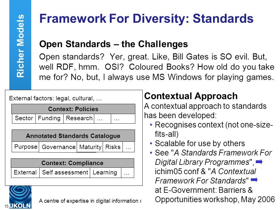 A centre of expertise in digital information managementwww.ukoln.ac.uk 15 Framework For Diversity: Standards Open Standards – the Challenges Open standards.