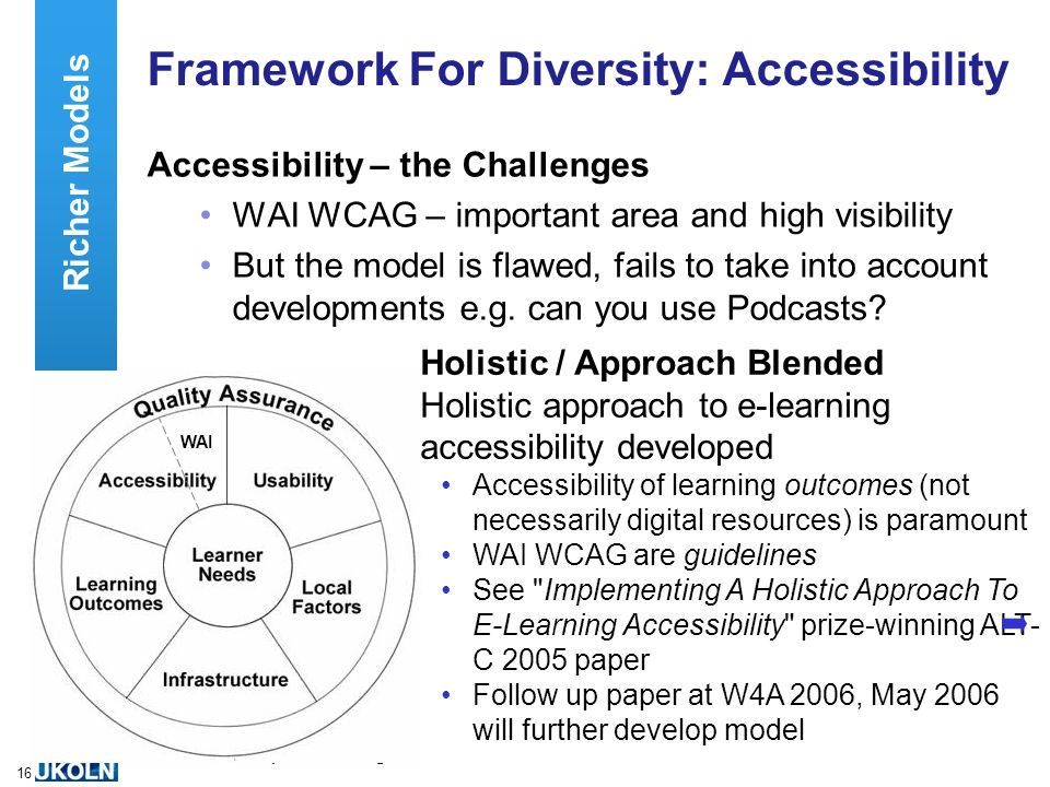 A centre of expertise in digital information managementwww.ukoln.ac.uk 16 Framework For Diversity: Accessibility Accessibility – the Challenges WAI WCAG – important area and high visibility But the model is flawed, fails to take into account developments e.g.