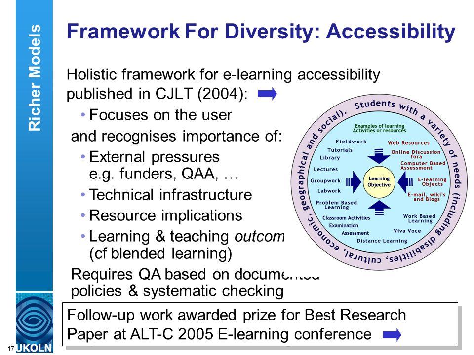 A centre of expertise in digital information managementwww.ukoln.ac.uk 17 Framework For Diversity: Accessibility Holistic framework for e-learning acc
