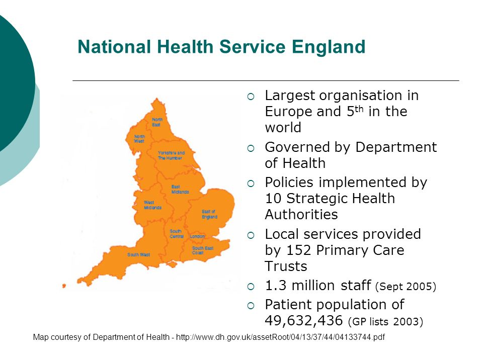 Largest organisation in Europe and 5 th in the world Governed by Department of Health Policies implemented by 10 Strategic Health Authorities Local services provided by 152 Primary Care Trusts 1.3 million staff (Sept 2005) Patient population of 49,632,436 (GP lists 2003) National Health Service England Map courtesy of Department of Health - http://www.dh.gov.uk/assetRoot/04/13/37/44/04133744.pdf