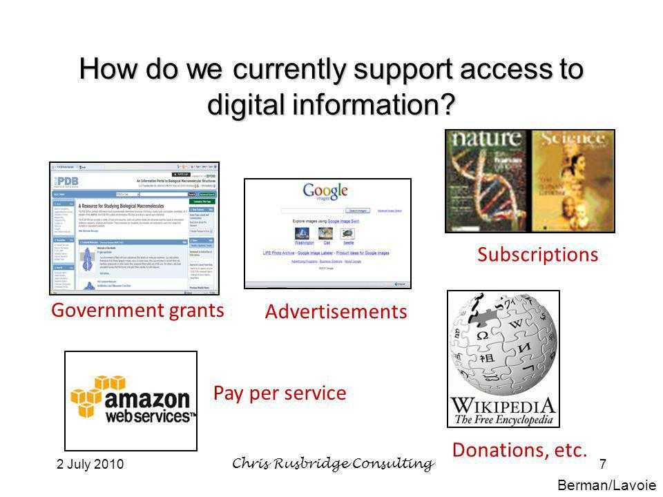 2 July 2010Chris Rusbridge Consulting7 How do we currently support access to digital information.
