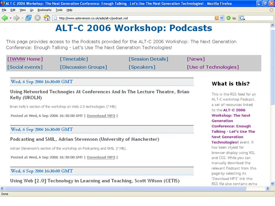 Combining the strengths of UMIST and The Victoria University of Manchester 6 th Sept 2006 Podcasting and SMIL