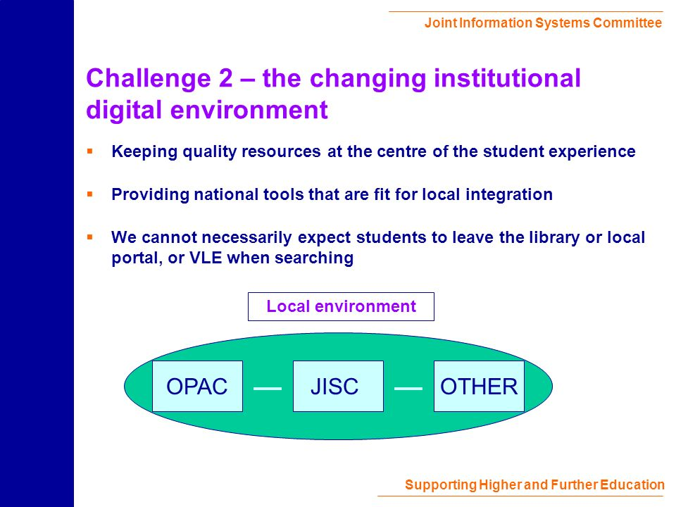 Joint Information Systems Committee Supporting Higher and Further Education Challenge 2 – the changing institutional digital environment Keeping quality resources at the centre of the student experience Providing national tools that are fit for local integration We cannot necessarily expect students to leave the library or local portal, or VLE when searching OPACJISCOTHER Local environment