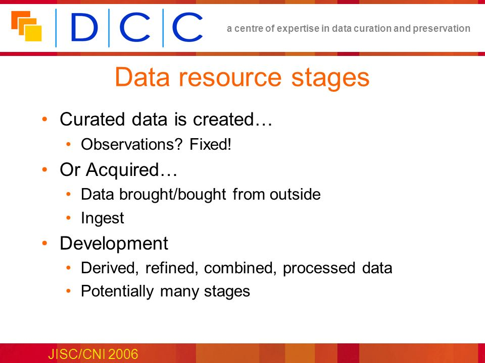 a centre of expertise in data curation and preservation JISC/CNI 2006 Data resource stages Curated data is created… Observations? Fixed! Or Acquired…