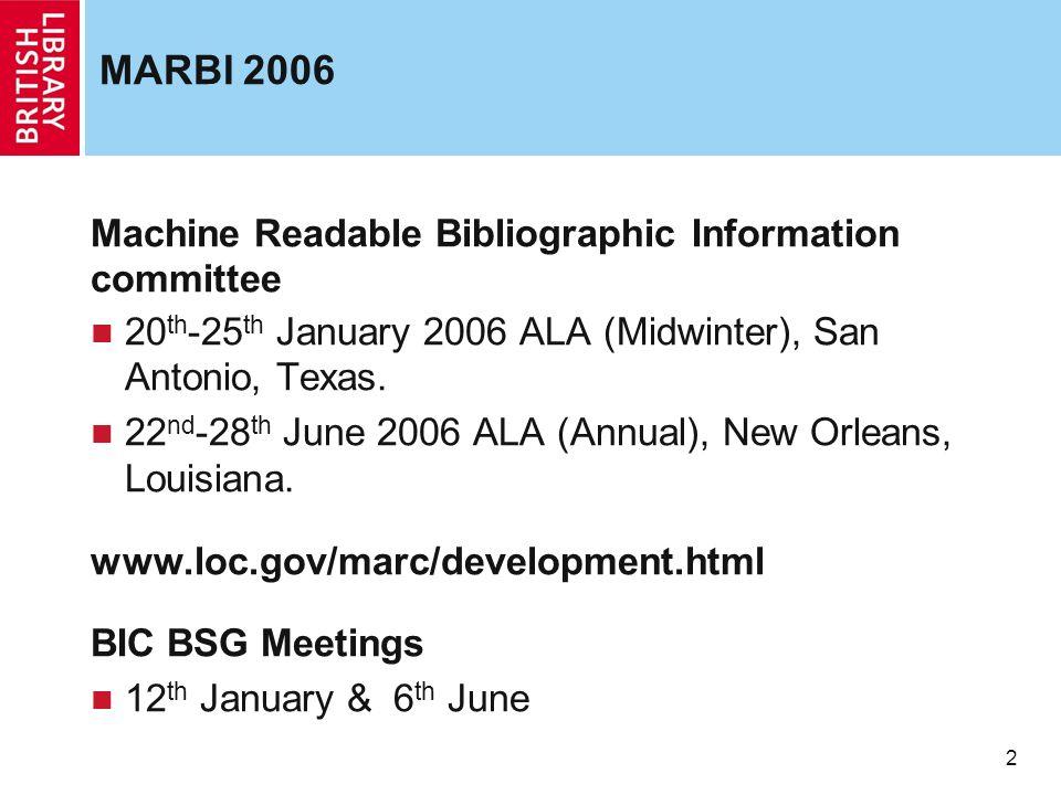 2 MARBI 2006 Machine Readable Bibliographic Information committee 20 th -25 th January 2006 ALA (Midwinter), San Antonio, Texas. 22 nd -28 th June 200