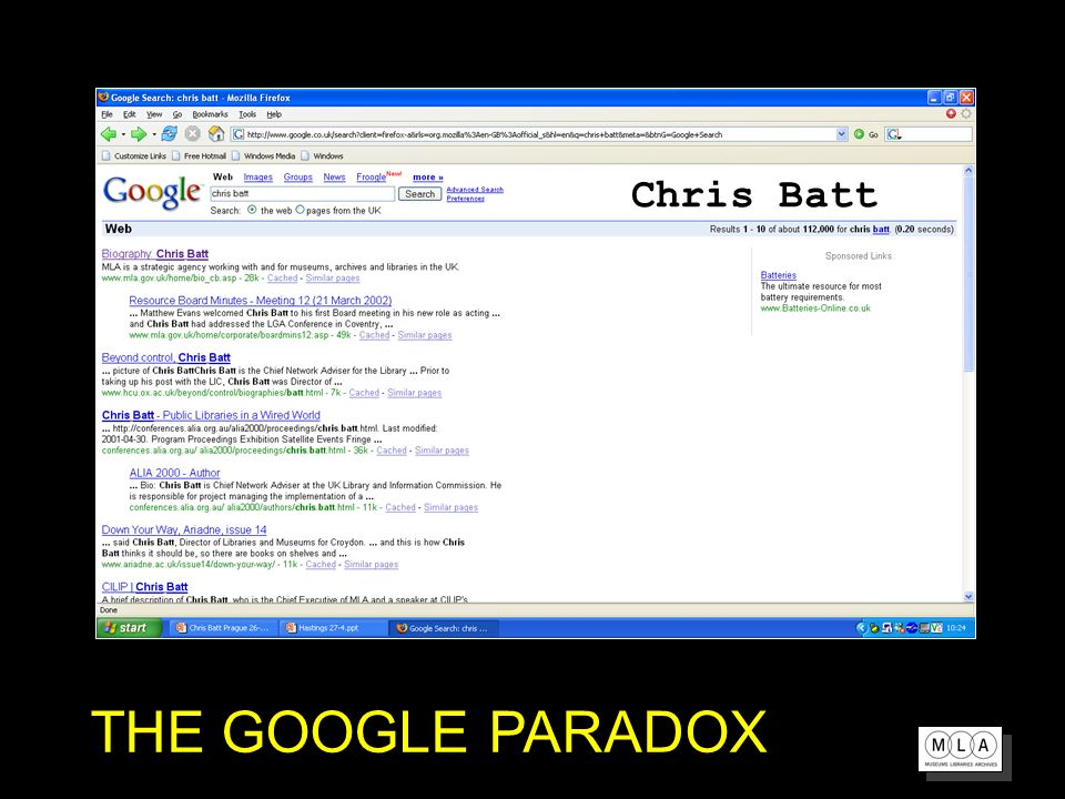 THE GOOGLE PARADOX Chris Batt