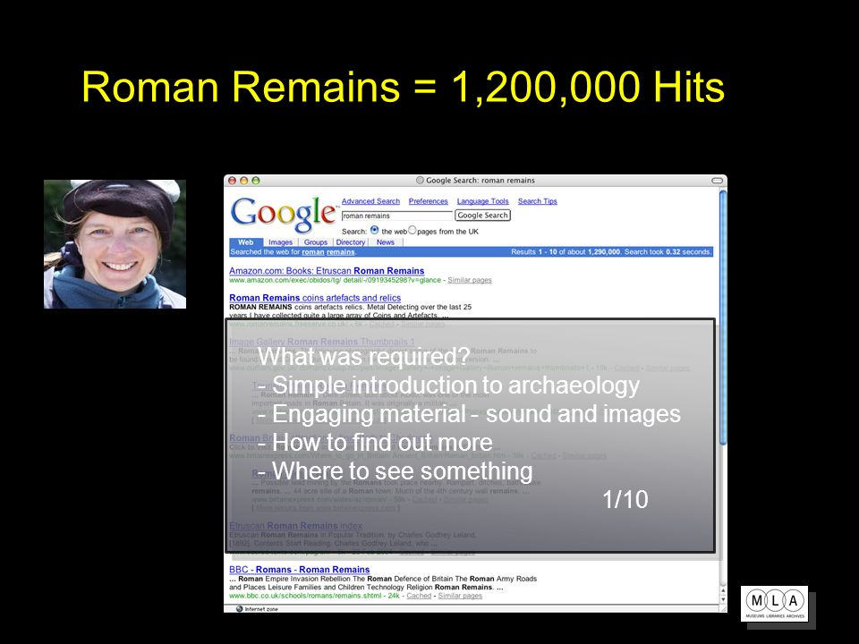 Roman Remains = 1,200,000 Hits What was required.
