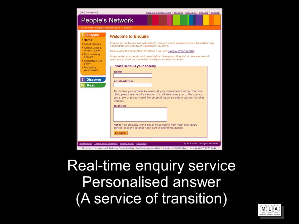 Real-time enquiry service Personalised answer (A service of transition)
