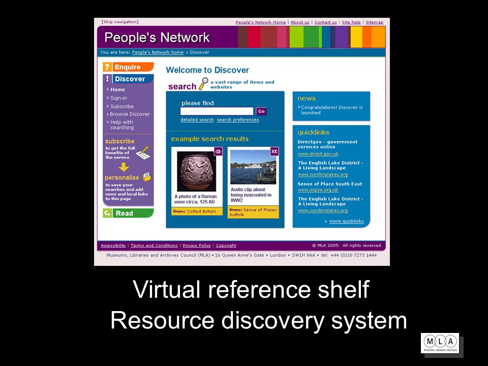 Virtual reference shelf Resource discovery system