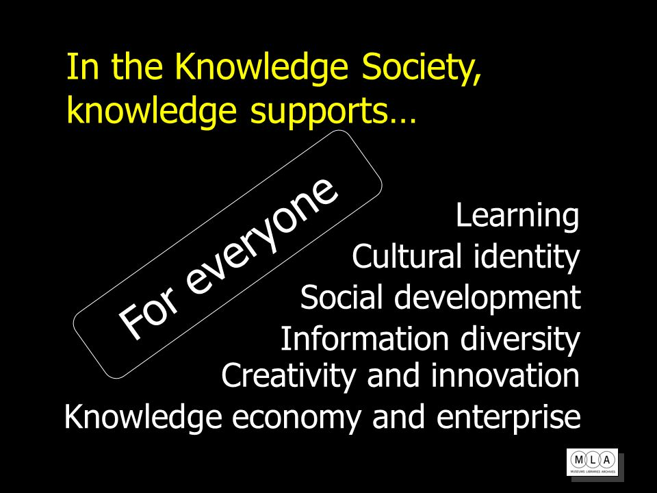 In the Knowledge Society, knowledge supports… Information diversity Creativity and innovation Knowledge economy and enterprise Social development Learning Cultural identity For everyone