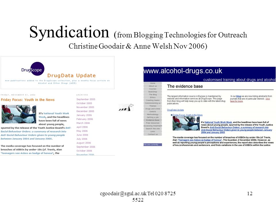 Tel Syndication ( from Blogging Technologies for Outreach Christine Goodair & Anne Welsh Nov 2006)