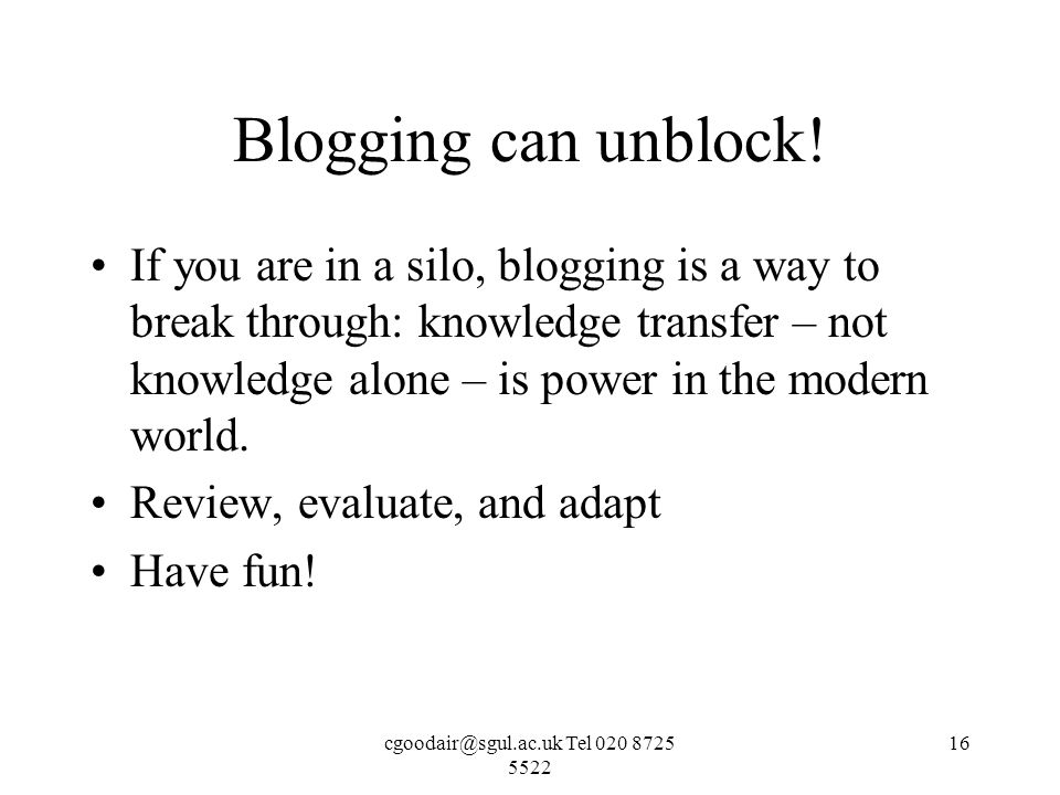 Tel Blogging can unblock.