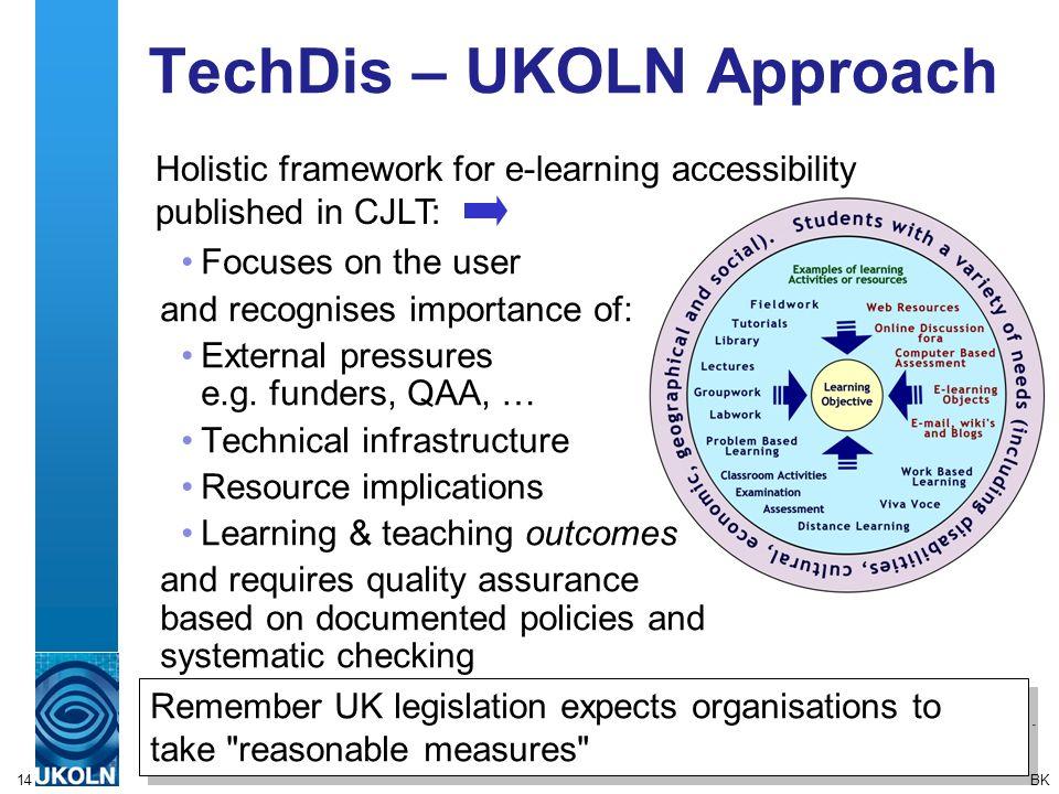 14 TechDis – UKOLN Approach Remember UK legislation expects organisations to take