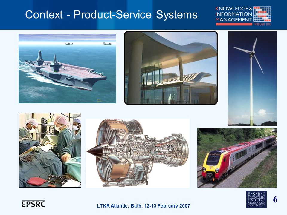 6 LTKR Atlantic, Bath, 12-13 February 2007 Context - Product-Service Systems