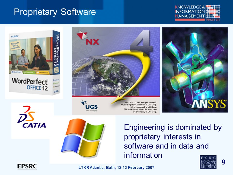 9 LTKR Atlantic, Bath, 12-13 February 2007 Proprietary Software Engineering is dominated by proprietary interests in software and in data and information
