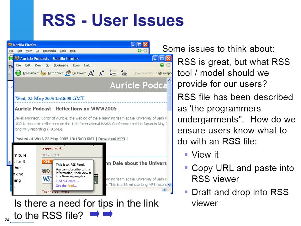 A centre of expertise in digital information managementwww.ukoln.ac.uk 24 RSS - User Issues Some issues to think about: RSS is great, but what RSS tool / model should we provide for our users.