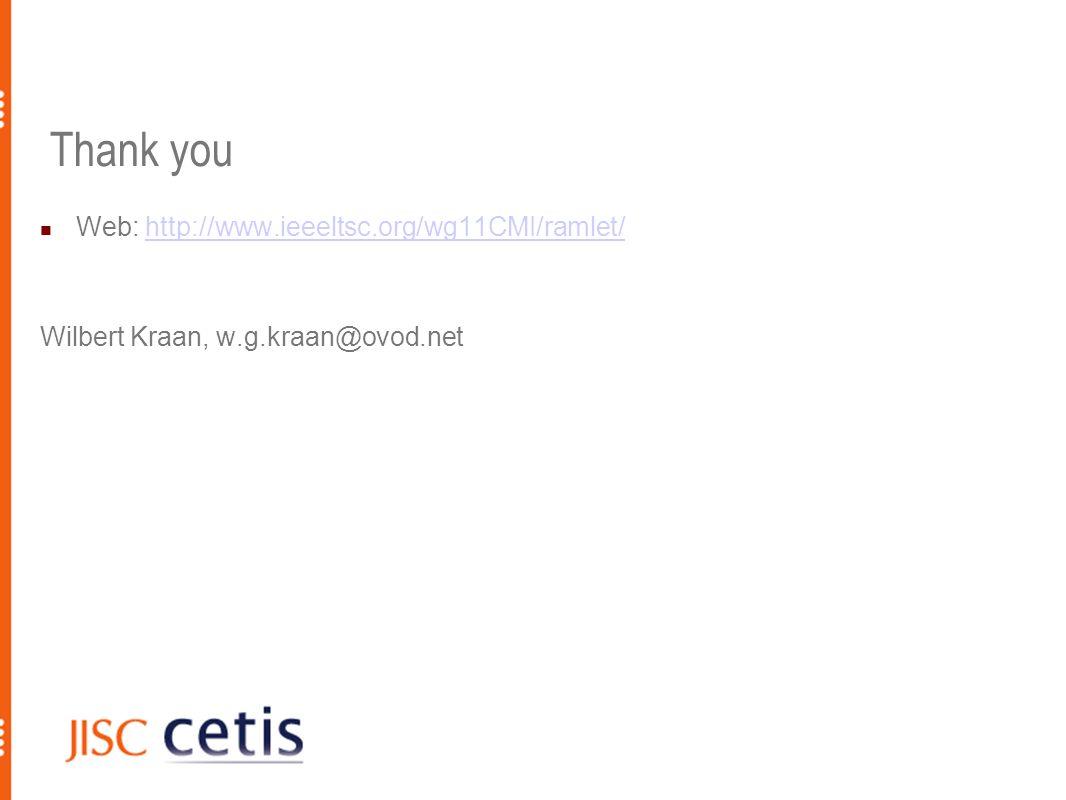 Thank you Web: http://www.ieeeltsc.org/wg11CMI/ramlet/http://www.ieeeltsc.org/wg11CMI/ramlet/ Wilbert Kraan, w.g.kraan@ovod.net