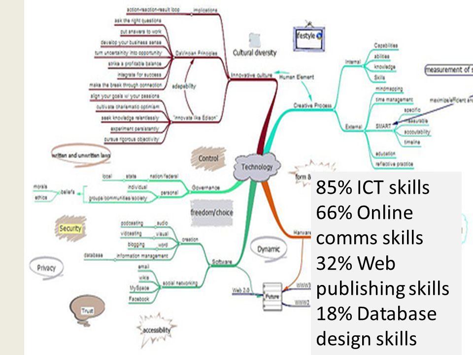 85% ICT skills 66% Online comms skills 32% Web publishing skills 18% Database design skills