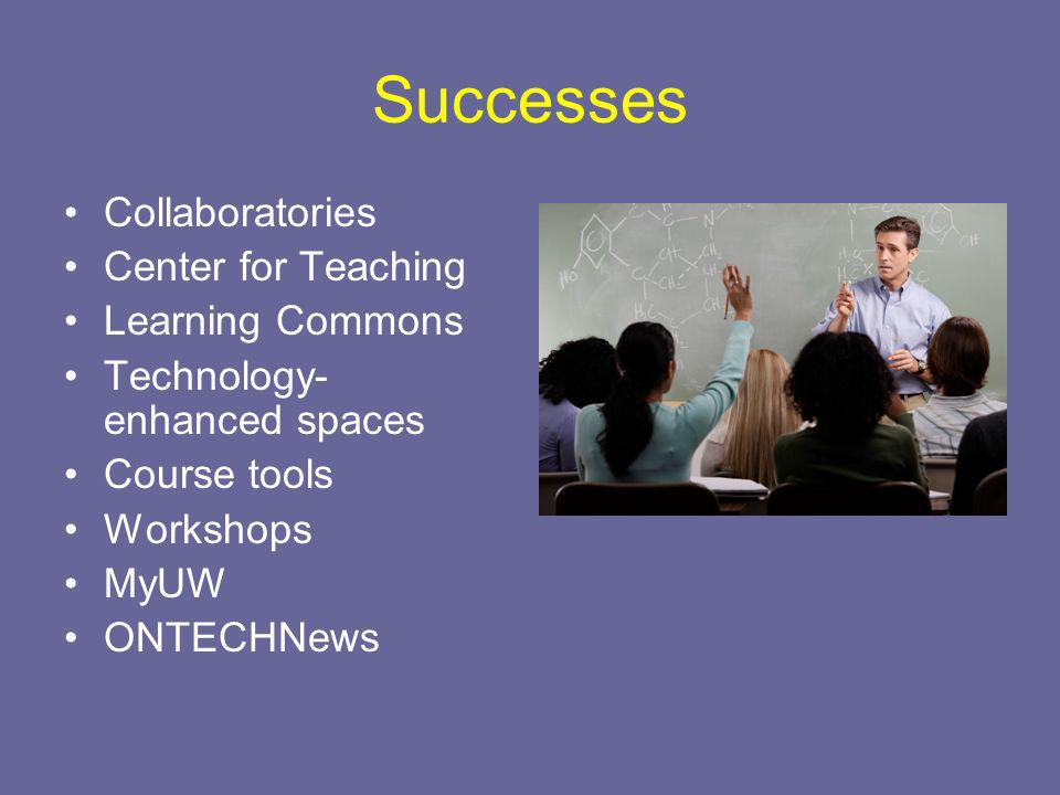 Successes Collaboratories Center for Teaching Learning Commons Technology- enhanced spaces Course tools Workshops MyUW ONTECHNews