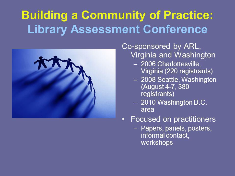 Building a Community of Practice: Library Assessment Conference Co-sponsored by ARL, Virginia and Washington –2006 Charlottesville, Virginia (220 registrants) –2008 Seattle, Washington (August 4-7, 380 registrants) –2010 Washington D.C.