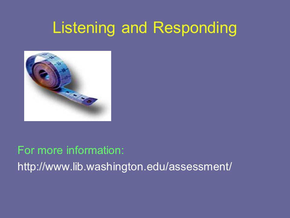 Listening and Responding For more information: http://www.lib.washington.edu/assessment/