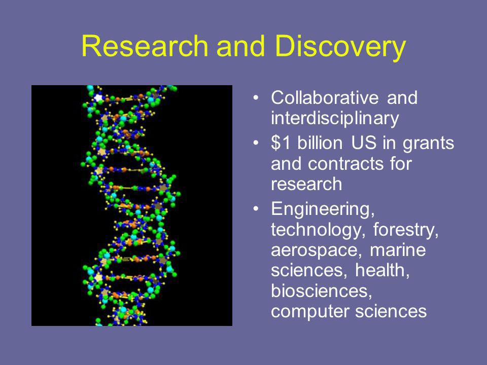 Research and Discovery Collaborative and interdisciplinary $1 billion US in grants and contracts for research Engineering, technology, forestry, aerospace, marine sciences, health, biosciences, computer sciences
