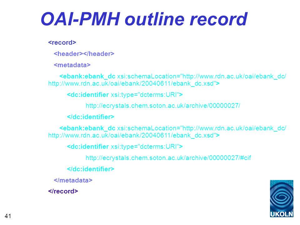 41 OAI-PMH outline record http://ecrystals.chem.soton.ac.uk/archive/00000027/ http://ecrystals.chem.soton.ac.uk/archive/00000027/#cif