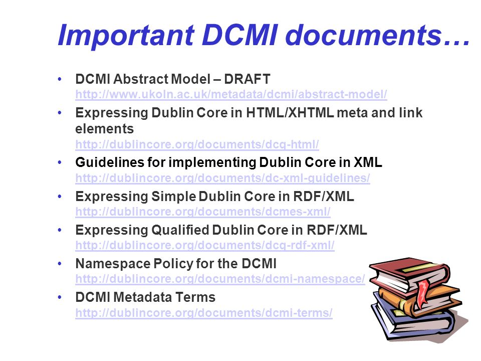 39 OAI-PMH model OAI-PMH identifier = entry point to all records pertaining to the resource resource Dublin Core Metadata item records IMS Metadata Crystal Structure Report Jump-off page (HTML) Linking Dublin Core Metadata type Date created 1:1 principle