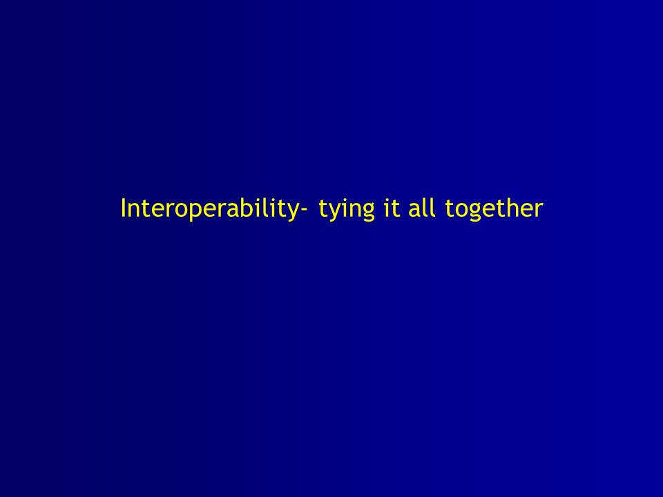 Interoperability- tying it all together