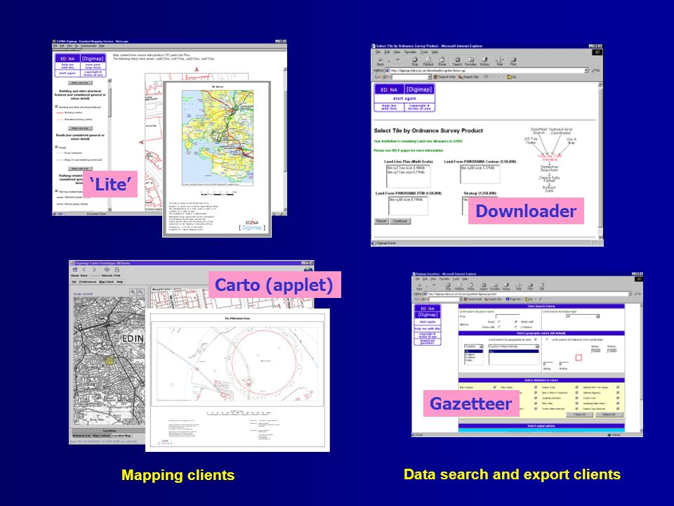 Mapping clients Data search and export clients Carto (applet) Lite Downloader Gazetteer