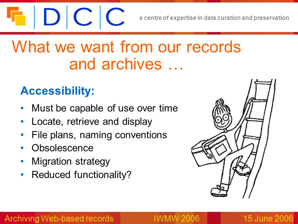 a centre of expertise in data curation and preservation Archiving Web-based records IWMW 200615 June 2006 Accessibility: Must be capable of use over time Locate, retrieve and display File plans, naming conventions Obsolescence Migration strategy Reduced functionality.