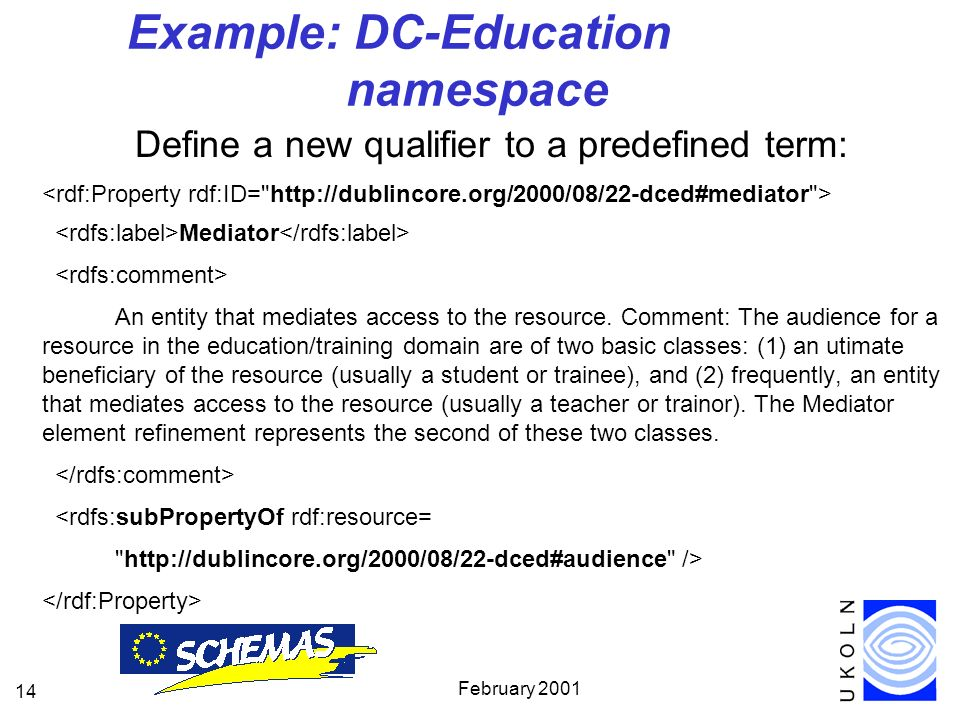 February Example: DC-Education namespace Define a new qualifier to a predefined term: Mediator An entity that mediates access to the resource.
