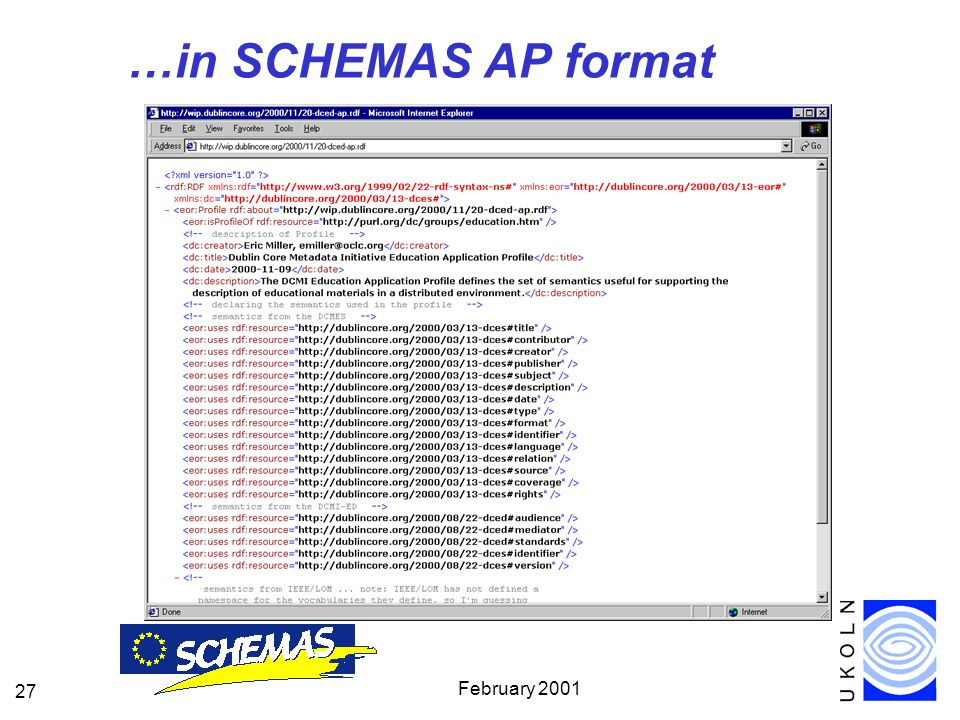 February 2001 27 …in SCHEMAS AP format