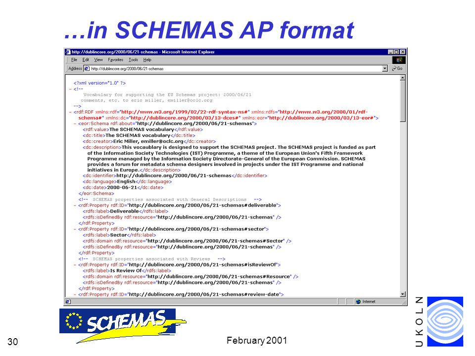 February 2001 30 …in SCHEMAS AP format