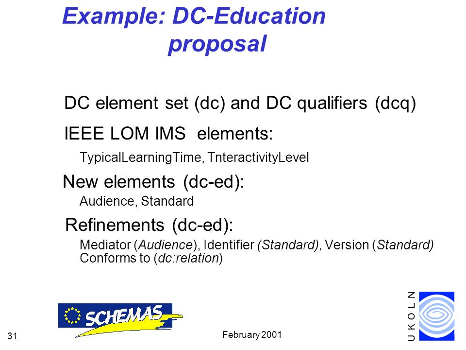 February 2001 31 Example: DC-Education proposal DC element set (dc) and DC qualifiers (dcq) IEEE LOM IMS elements: TypicalLearningTime, TnteractivityLevel New elements (dc-ed): Audience, Standard Refinements (dc-ed): Mediator (Audience), Identifier (Standard), Version (Standard) Conforms to (dc:relation)
