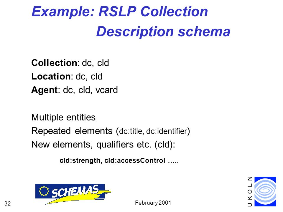 February 2001 32 Example: RSLP Collection Description schema Collection: dc, cld Location: dc, cld Agent: dc, cld, vcard Multiple entities Repeated elements ( dc:title, dc:identifier ) New elements, qualifiers etc.