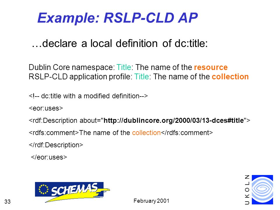 February 2001 33 Example: RSLP-CLD AP …declare a local definition of dc:title: Dublin Core namespace: Title: The name of the resource RSLP-CLD application profile: Title: The name of the collection The name of the collection