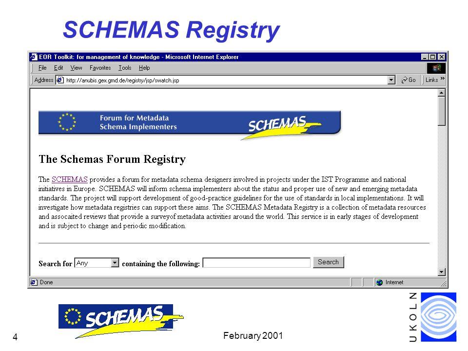 February 2001 4 SCHEMAS Registry