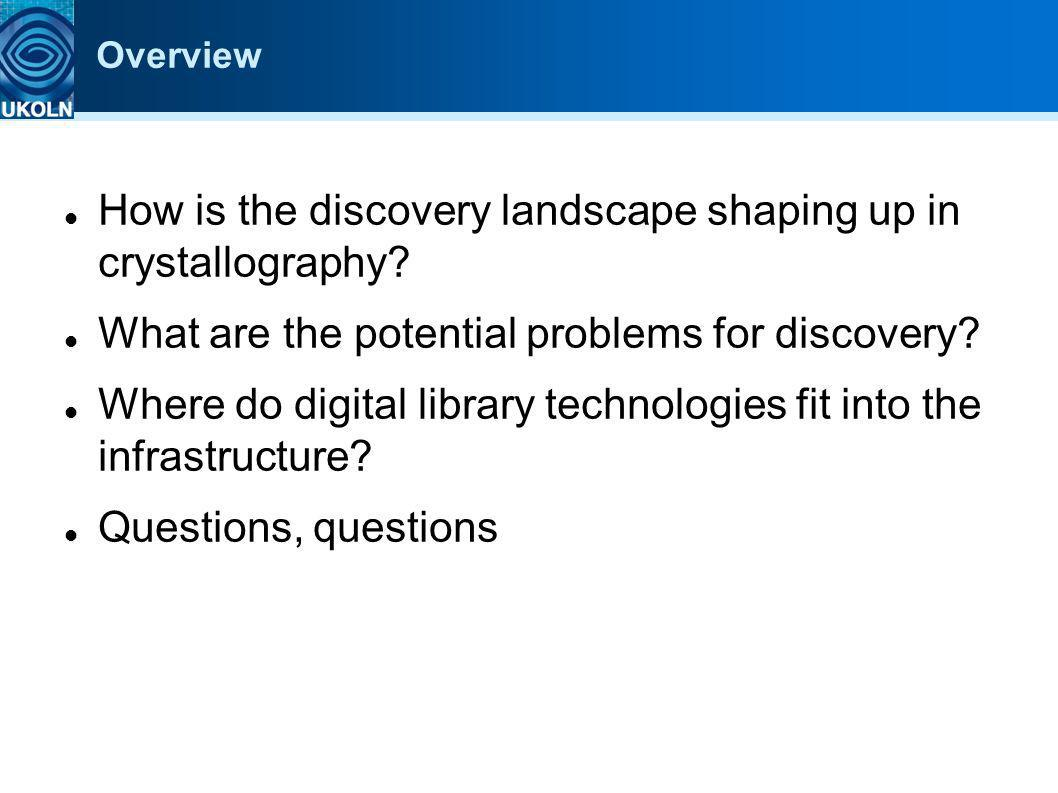 Overview How is the discovery landscape shaping up in crystallography? What are the potential problems for discovery? Where do digital library technol