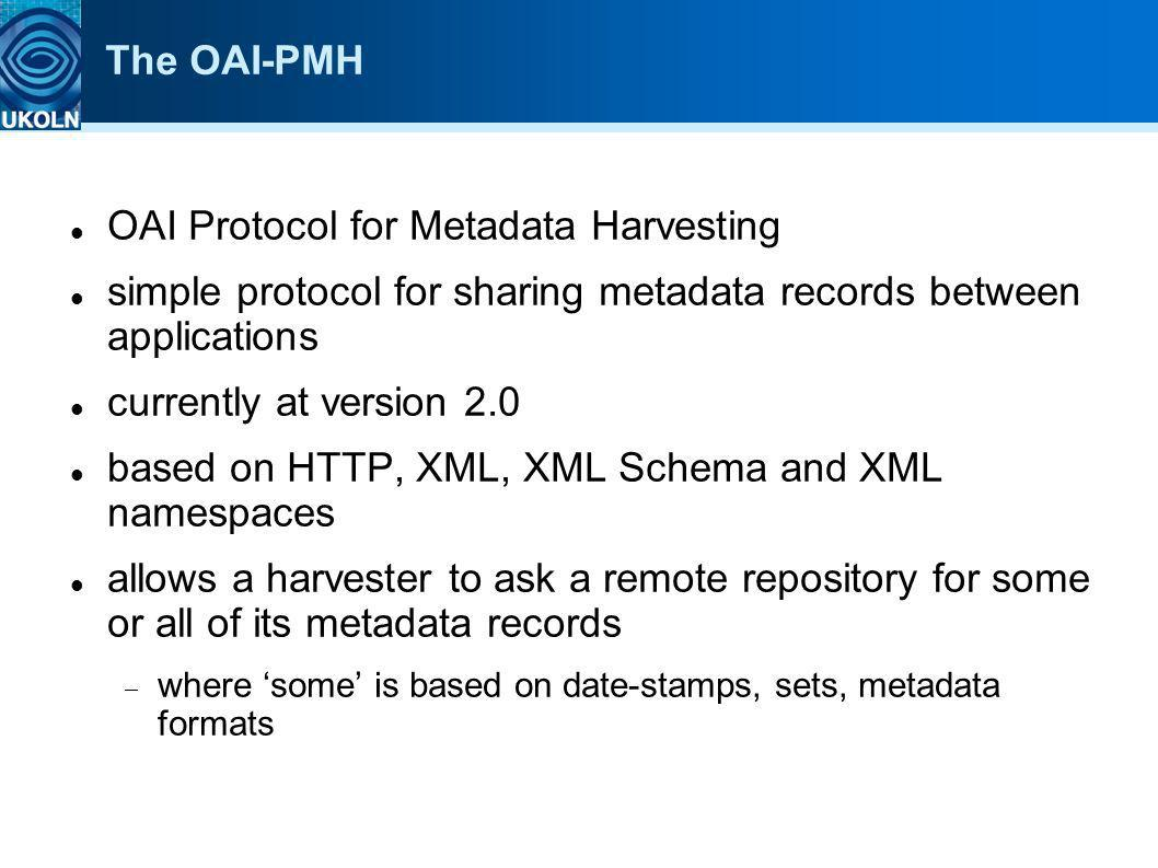 The OAI-PMH OAI Protocol for Metadata Harvesting simple protocol for sharing metadata records between applications currently at version 2.0 based on H
