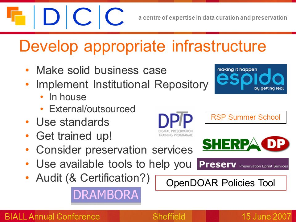 a centre of expertise in data curation and preservation BIALL Annual ConferenceSheffield15 June 2007 Develop appropriate infrastructure Make solid business case Implement Institutional Repository In house External/outsourced Use standards Get trained up.