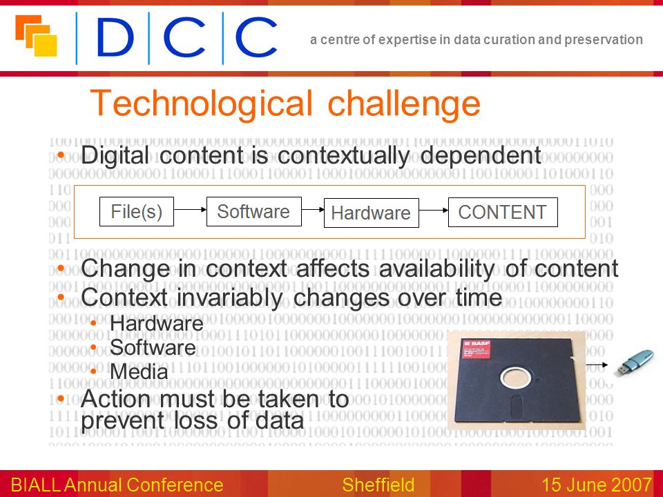 a centre of expertise in data curation and preservation BIALL Annual ConferenceSheffield15 June 2007 Technological challenge Digital content is contex