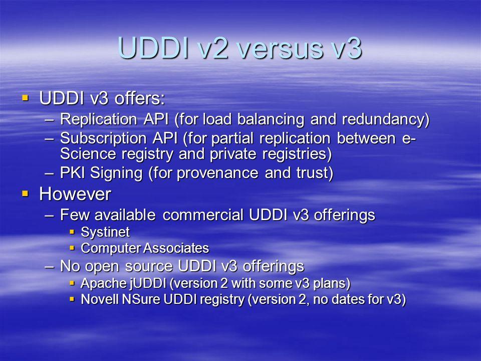 UDDI v2 versus v3 UDDI v3 offers: UDDI v3 offers: –Replication API (for load balancing and redundancy) –Subscription API (for partial replication between e- Science registry and private registries) –PKI Signing (for provenance and trust) However However –Few available commercial UDDI v3 offerings Systinet Systinet Computer Associates Computer Associates –No open source UDDI v3 offerings Apache jUDDI (version 2 with some v3 plans) Apache jUDDI (version 2 with some v3 plans) Novell NSure UDDI registry (version 2, no dates for v3) Novell NSure UDDI registry (version 2, no dates for v3)