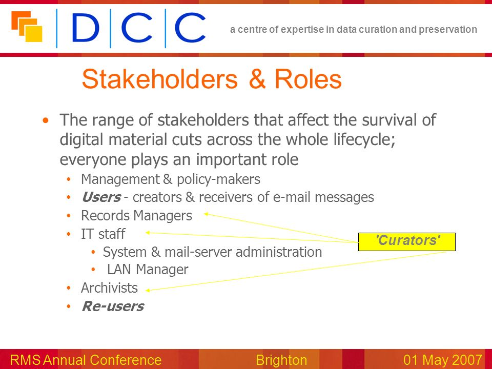 a centre of expertise in data curation and preservation RMS Annual Conference Brighton01 May 2007 Stakeholders & Roles The range of stakeholders that affect the survival of digital material cuts across the whole lifecycle; everyone plays an important role Management & policy-makers Users - creators & receivers of e-mail messages Records Managers IT staff System & mail-server administration LAN Manager Archivists Re-users Curators
