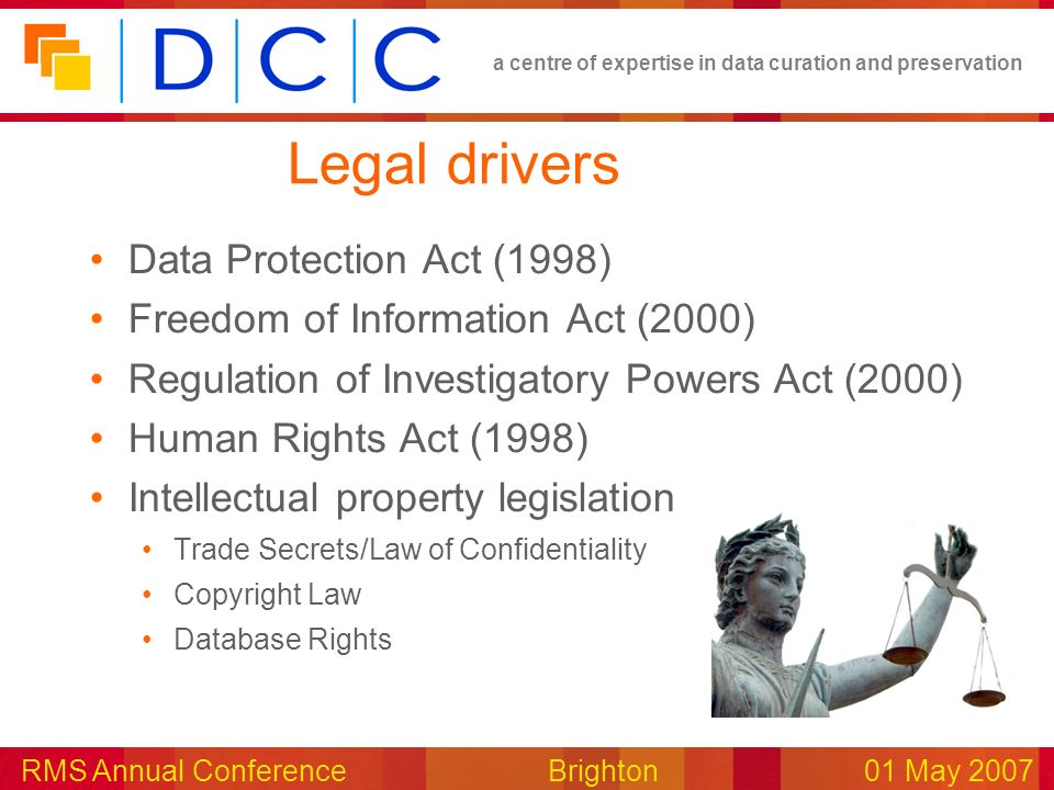 a centre of expertise in data curation and preservation RMS Annual Conference Brighton01 May 2007 Legal drivers Data Protection Act (1998) Freedom of Information Act (2000) Regulation of Investigatory Powers Act (2000) Human Rights Act (1998) Intellectual property legislation Trade Secrets/Law of Confidentiality Copyright Law Database Rights