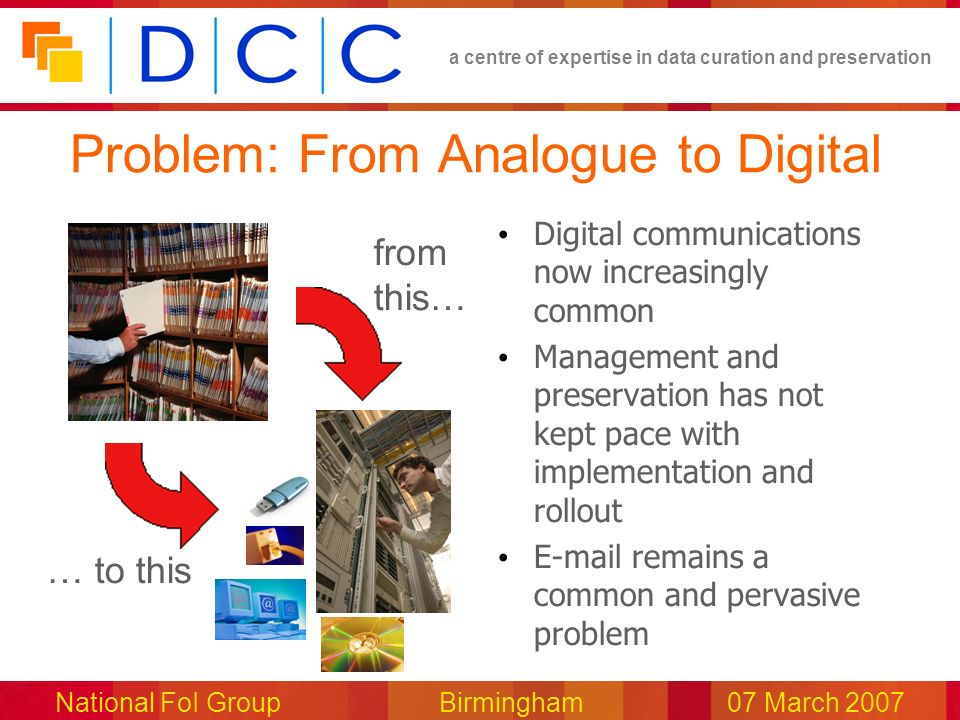a centre of expertise in data curation and preservation National FoI Group Birmingham07 March 2007 Problem: From Analogue to Digital Digital communications now increasingly common Management and preservation has not kept pace with implementation and rollout E-mail remains a common and pervasive problem … to this from this…