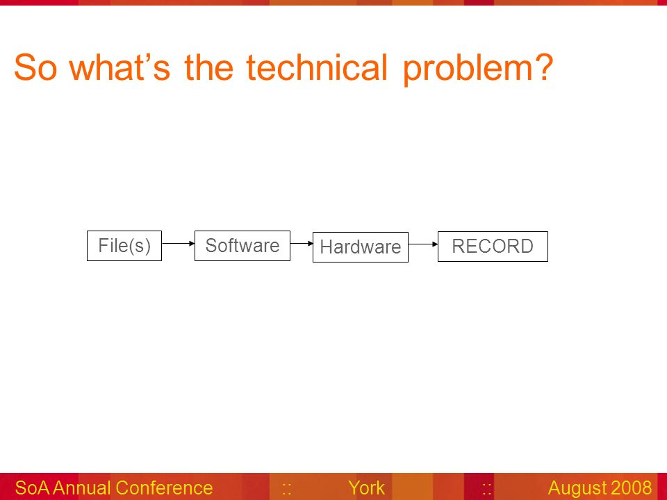 SoA Annual Conference::York::August 2008 So whats the technical problem.
