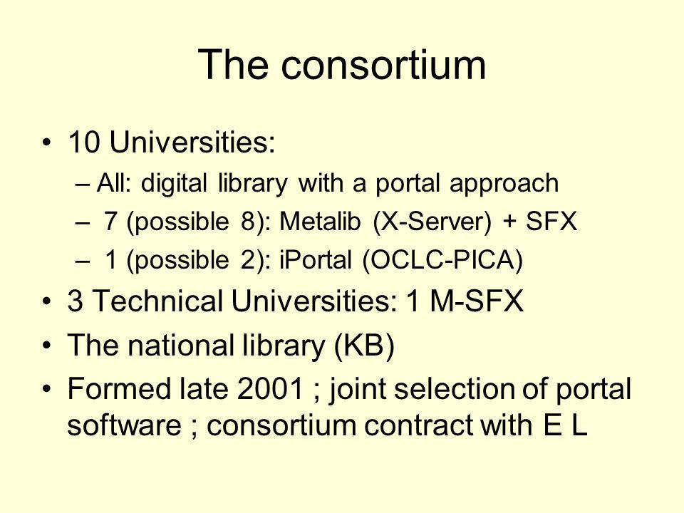 The consortium 10 Universities: –All: digital library with a portal approach – 7 (possible 8): Metalib (X-Server) + SFX – 1 (possible 2): iPortal (OCLC-PICA) 3 Technical Universities: 1 M-SFX The national library (KB) Formed late 2001 ; joint selection of portal software ; consortium contract with E L